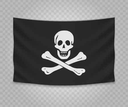 Realistic hanging flag of pirate. Empty  fabric banner illustration design. Jolly Roger