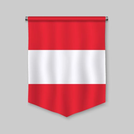 3d realistic pennant with flag of Austria  イラスト・ベクター素材