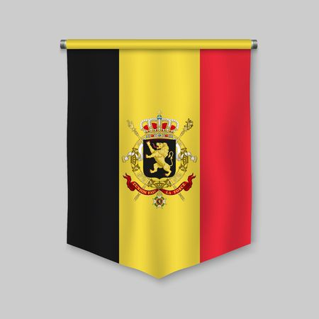 3d realistic pennant with flag of Belgium  イラスト・ベクター素材