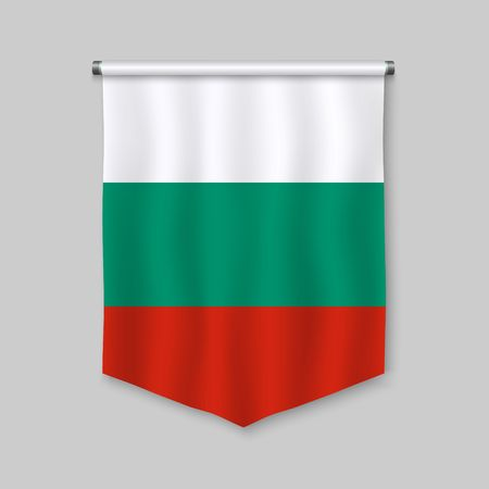 3d realistic pennant with flag of Bulgaria