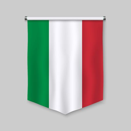 3d realistic pennant with flag of Italy