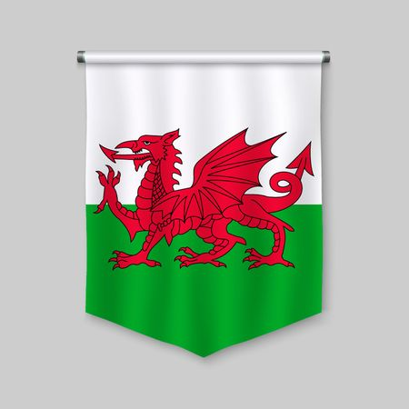 3d realistic pennant with flag of Wales Vettoriali
