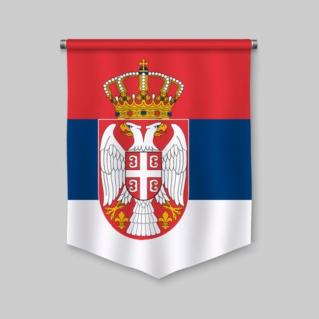 3d realistic pennant with flag of Serbia  イラスト・ベクター素材