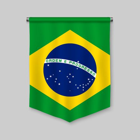 3d realistic pennant with flag of Brazil