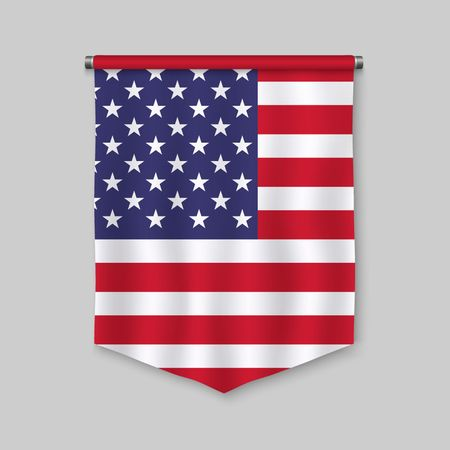 3d realistic pennant with flag of United States