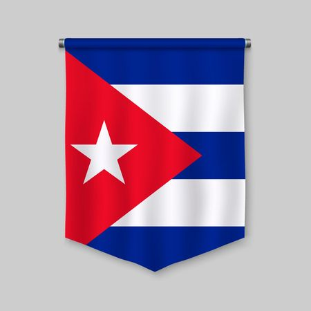 3d realistic pennant with flag of Cuba