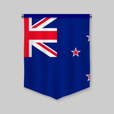 3d realistic pennant with flag of New Zealand