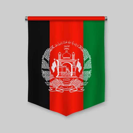 3d realistic pennant with flag of Afghanistan