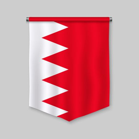 3d realistic pennant with flag of Bahrain
