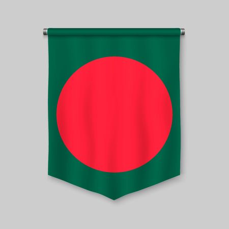3d realistic pennant with flag of Bangladesh