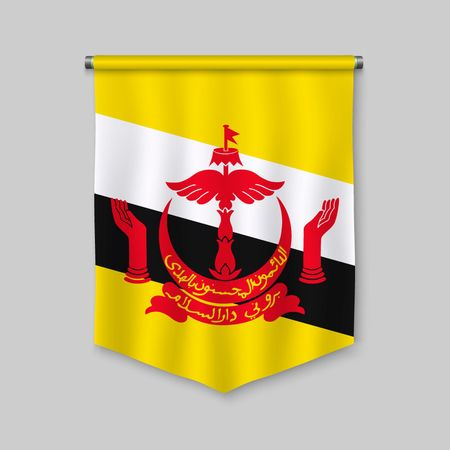 3d realistic pennant with flag of Brunei Vettoriali