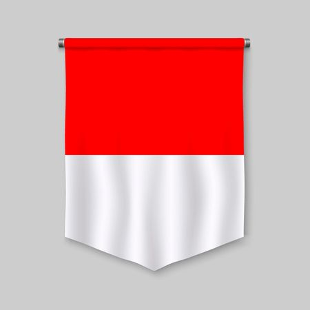 3d realistic pennant with flag of Indonesia Vettoriali