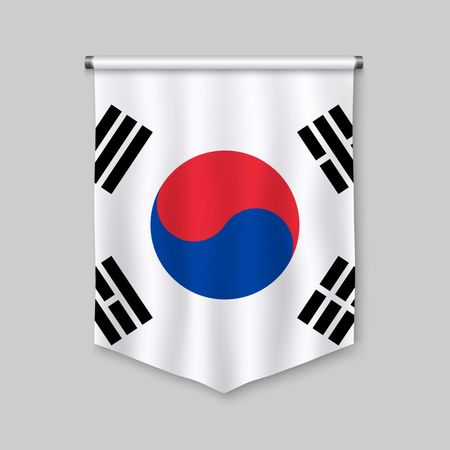 3d realistic pennant with flag of South Korea