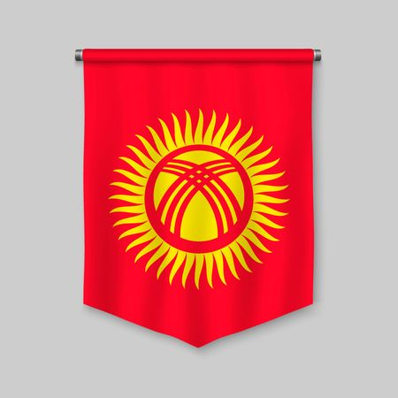 3d realistic pennant with flag of Kyrgyzstan