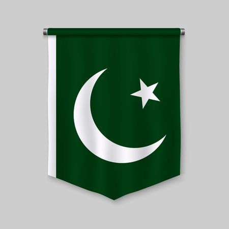 3d realistic pennant with flag of Pakistan