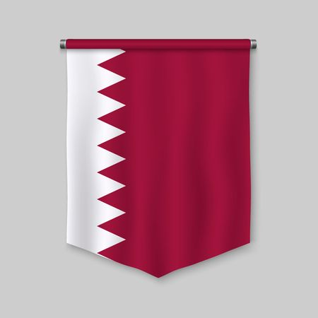 3d realistic pennant with flag of Qatar