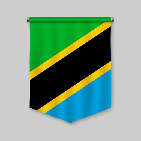 3d realistic pennant with flag of Tanzania