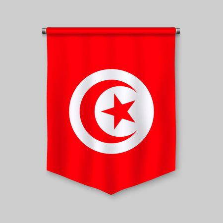 3d realistic pennant with flag of Tunisia