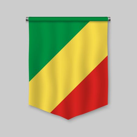 3d realistic pennant with flag of Congo