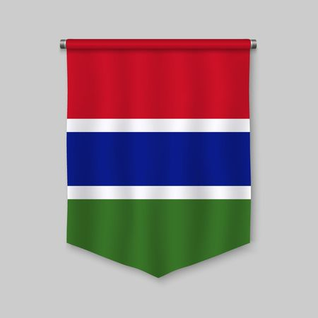 3d realistic pennant with flag of Gambia