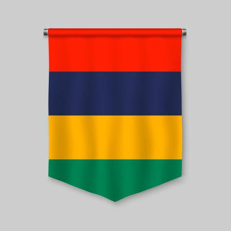 3d realistic pennant with flag of Mauritius Vettoriali