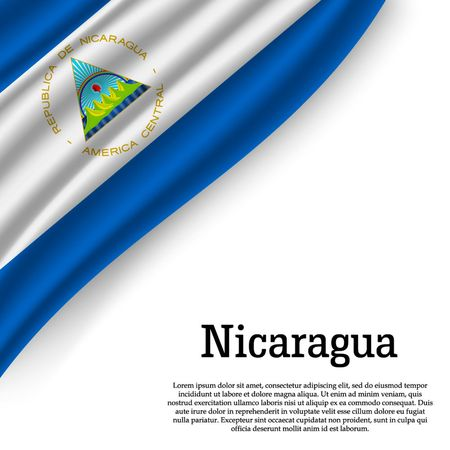 waving flag of Nicaragua on white background. Template for independence day. vector illustration