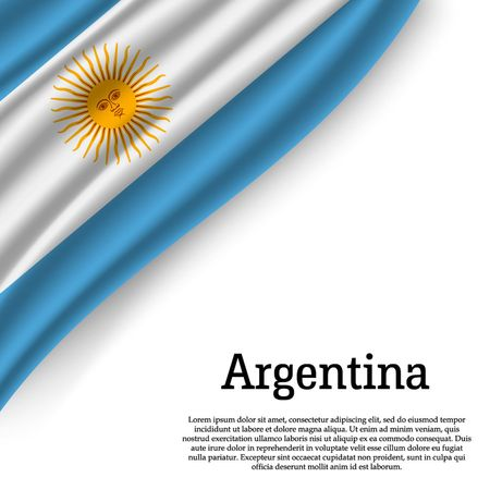 waving flag of Argentina on white background. Template for independence day. vector illustration Illustration