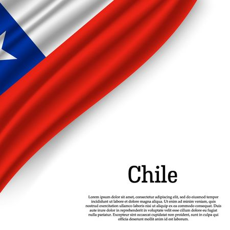 waving flag of Chile on white background. Template for independence day. vector illustration 向量圖像