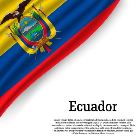 waving flag of Ecuador on white background. Template for independence day. vector illustration