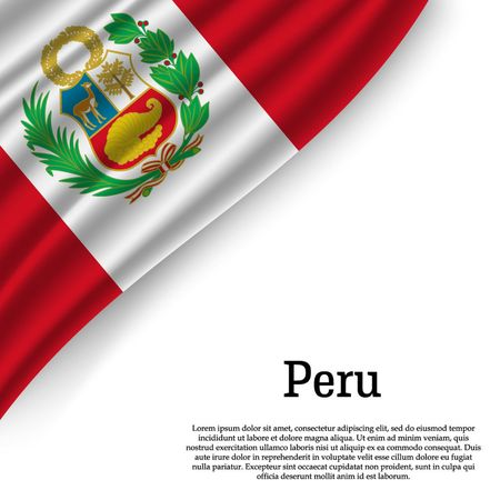 waving flag of Peru on white background. Template for independence day. vector illustration Ilustração