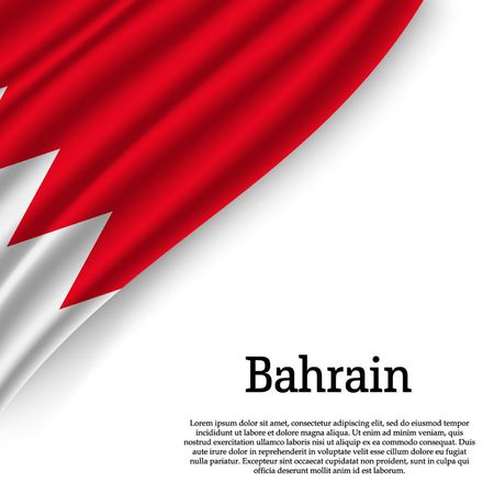 waving flag of Bahrain on white background. Template for independence day. vector illustration