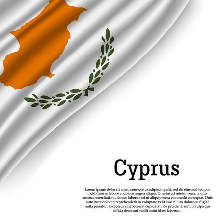 waving flag of Cyprus on white background. Template for independence day. vector illustration
