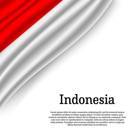 waving flag of Indonesia on white background. Template for independence day. vector illustration