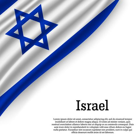 waving flag of Israel on white background. Template for independence day. vector illustration