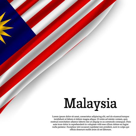 agitant le drapeau de la Malaisie sur fond blanc. Modèle pour la fête de l'indépendance. illustration vectorielle Vecteurs