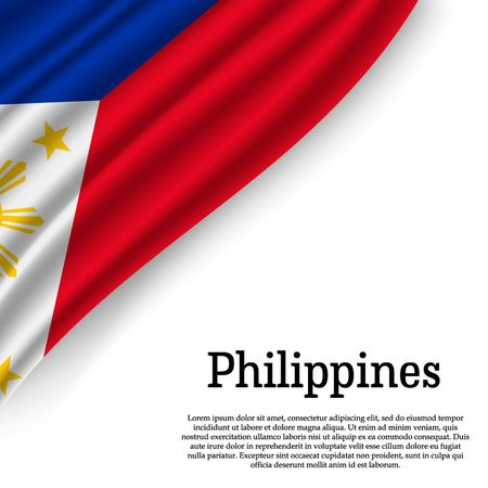 waving flag of Philippines on white background. Template for independence day. vector illustration