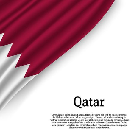 waving flag of Qatar on white background. Template for independence day. vector illustration