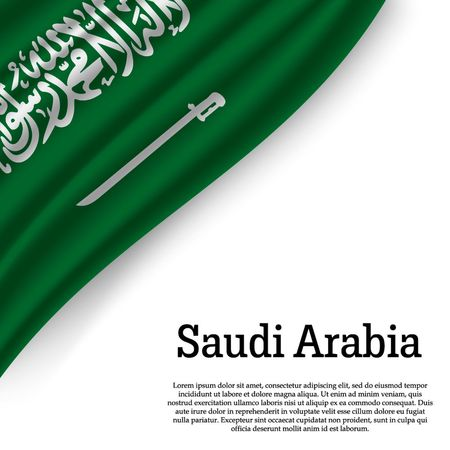 waving flag of Saudi Arabia on white background. Template for independence day. vector illustration