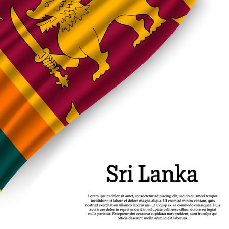 waving flag of Sri Lanka on white background. Template for independence day. vector illustration