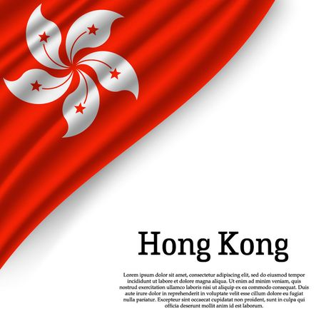 waving flag of Hong Kong on white background. Template for independence day. vector illustration