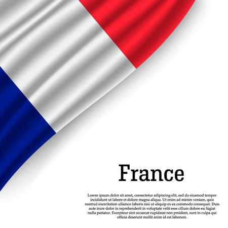 waving flag of France on white background. Template for independence day. vector illustration