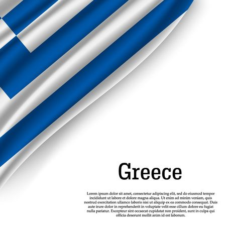 waving flag of Greece on white background. Template for independence day. vector illustration Illustration