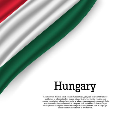 waving flag of Hungary on white background. Template for independence day. vector illustration