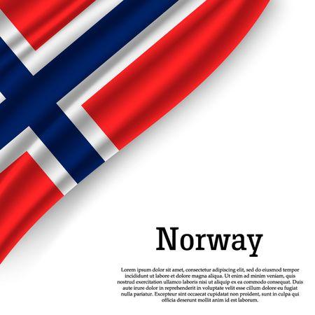 sventolando la bandiera della Norvegia su sfondo bianco. Modello per il giorno dell'indipendenza. illustrazione vettoriale