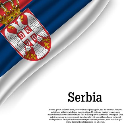 waving flag of Serbia on white background. Template for independence day. vector illustration Illustration