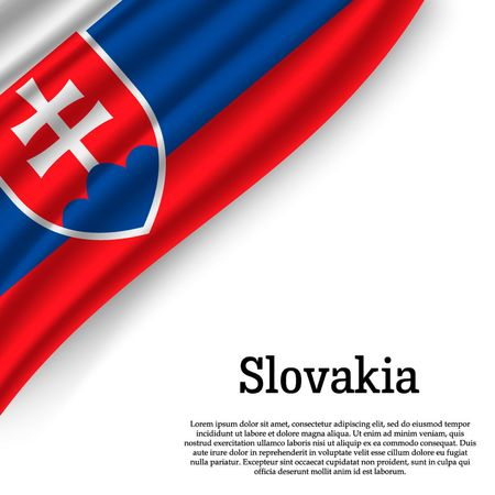 waving flag of Slovakia on white background. Template for independence day. vector illustration Illustration