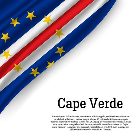 waving flag of Cape Verde on white background. Template for independence day. vector illustration
