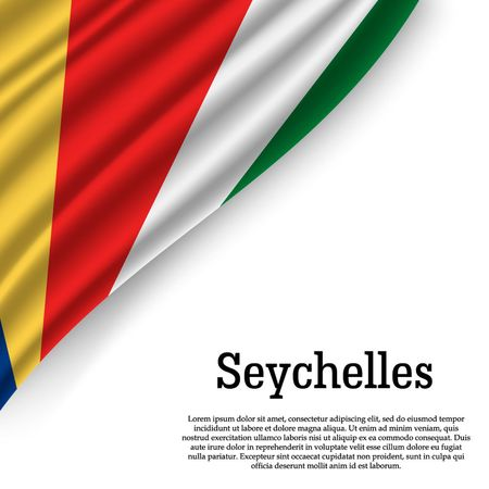 waving flag of Seychelles on white background. Template for independence day. vector illustration 일러스트