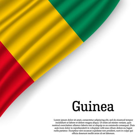 waving flag of Guinea on white background. Template for independence day. vector illustration