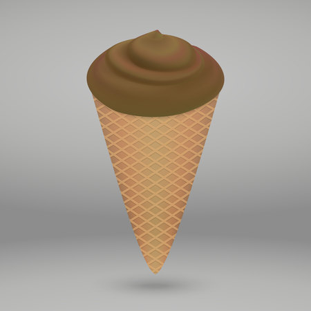 Chocolate coffee ice cream in the cone isolated